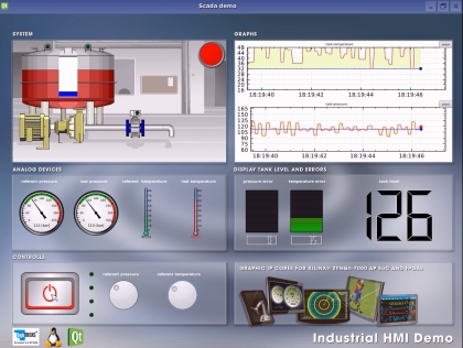 Xylon Industrial HMI demo screenshot - designed by Qt